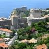Вид на Дубровник из фуникулера на гору Срдж
