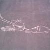 Танк и машина, рисунок на асфальте