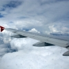 Подлетая к аэропорту Шереметьево, Москва. Вид из окна самолета, 18 ряд аэробуса 319
