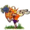 Министерство связи СССР. 1986год. С днем рождения! Заяц с корзиной фруктов и овощей.