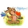 Министерство связи СССР. 22.08.90. Поздравляем! 130400. Заяц с цветком колокольчика и ягодой клубники.