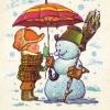 Министерство связи СССР. 10.03.77. С Новым годом! З.4088. 10.5илн. Мальчик привязывает к снеговику зонт.