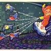 Министерство связи СССР. 20.02.69. С Новым годом! Зак.13078. А09742. 10млн. Мальчика мчат на снежинке снегири и синички.