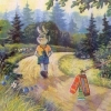 Издательство «Галилея» - перепечатка. С праздничком! М. т. №2. З. 1106. Лиса и кот затаились с подарками. На обороте: зайчик с плеером.