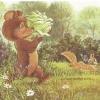 Издательство «Галилея» - перепечатка. Милой девочке... ИПК «Улыбка Гагарина». 4.14.131.044. Зайка, ежик и мышка поздравляют олененка-девочку. На обороте: мишка с кочаном капусты, белочка с цветком.