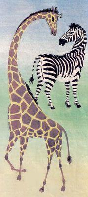 Жирафа и зебра