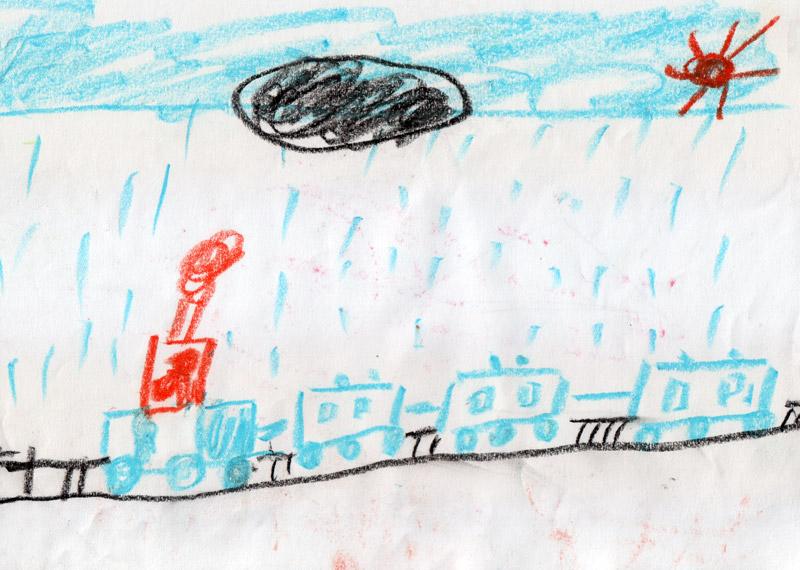 Поезд под дождиком
