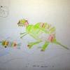 Динозавр на рыбаке
