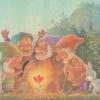 Министерство связи СССР. 15.08.90. С днем рождения! З.107770. 3.5млн. Гномы и зайцы вокруг цветка. На обороте: гномы с мешком самоцветных камней и фотоаппаратом.