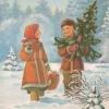 Российская Федерация. 05.11.91. С Рождеством! З.8134. 0.5млн. Мальчик и девочка на опушке леса.