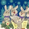 Министерство связи СССР. 22.01.85. С Новым годом! З.109140. 1млн. Хор зайцев. На обороте: три зайца играют на музыкальных инструментах.