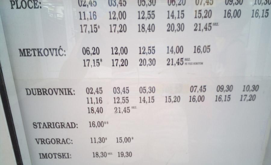 Расписание автобусов из Макарски в Дубровник и Загреб